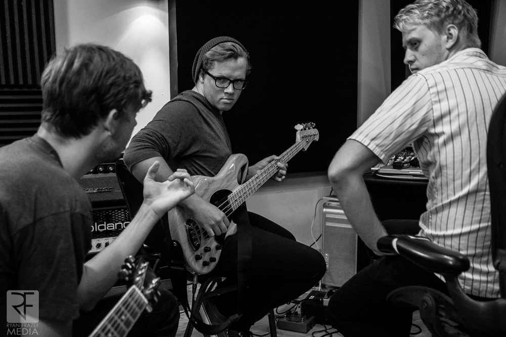 Tj, Josh and Chris working through bass lines.