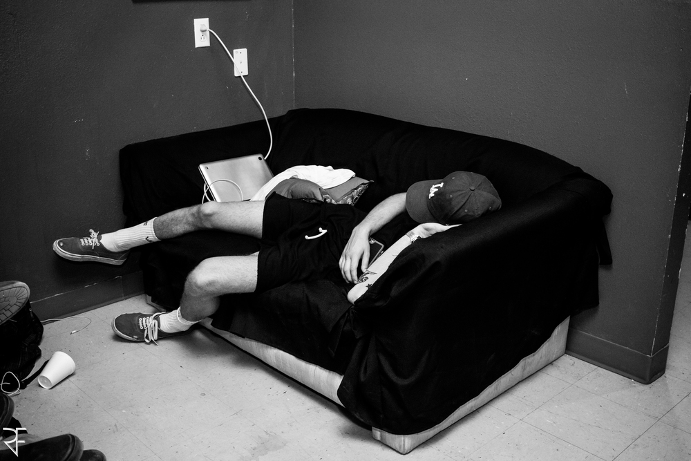 The reality of tour. Naps wherever/whenever you can find them.