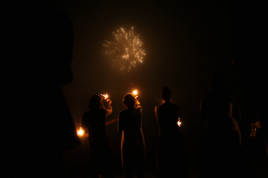 fireworks wedding photos