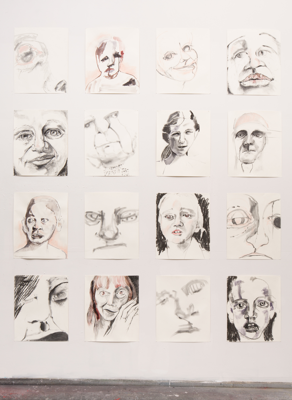 "Expressive Heads of the 21st Century , 2016, charcoal, ink and pastel on paper, 119"" x 94"""