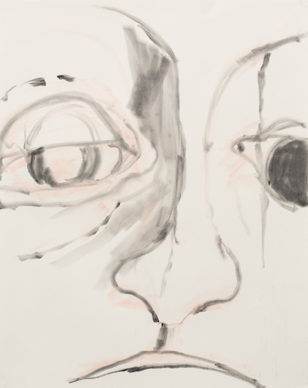 "Expressive Heads of the 21st Century , 2016, charcoal and pastel on paper, detail 24"" x 19"""