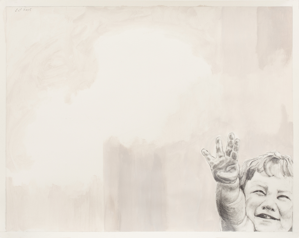"Nobody Puts Baby In a Corner (Ellen) , 2016, graphite, Flashe on paper, 19"" x 24"""