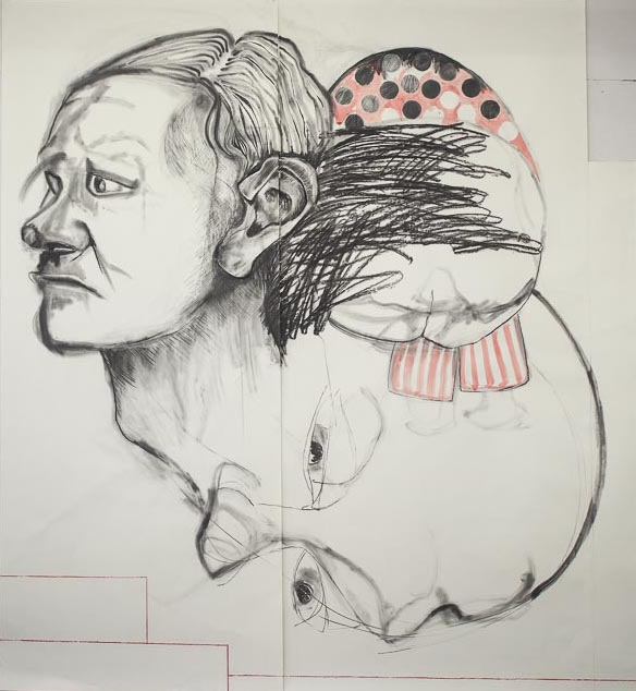 "Humpty Dumpty,  2014, charcoal, ink, pastel, collage on paper, 86"" x 79"""