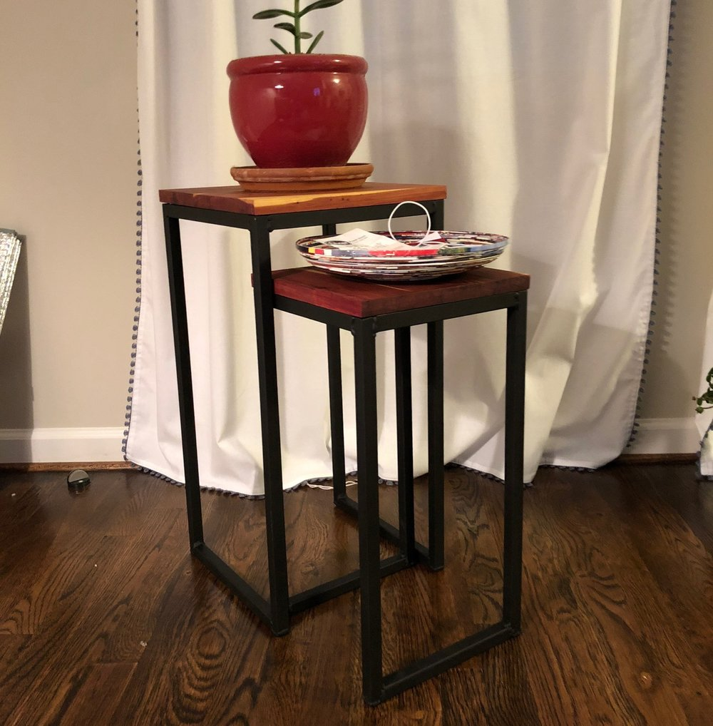 Iron and oak nesting tables by L&L (local Katy, TX artisans)