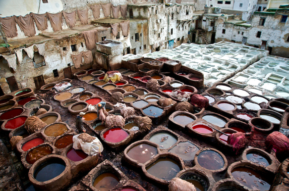 1.Dying of leather in foreign country (http://commons.wikimedia.org/wiki/File:Leather_dyeing_vats_in_Fes_2.jpg