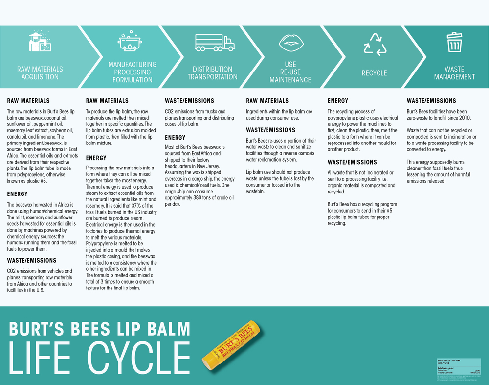 Burt's Bees Lip Balm Life Cycle Assessment | Poster made for print