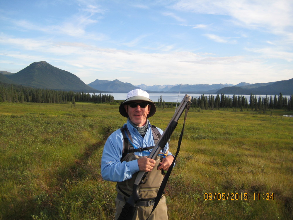 Traded my rod for the shotgun...and that is a bear trail we used to cross the tundra and access Ice Creek