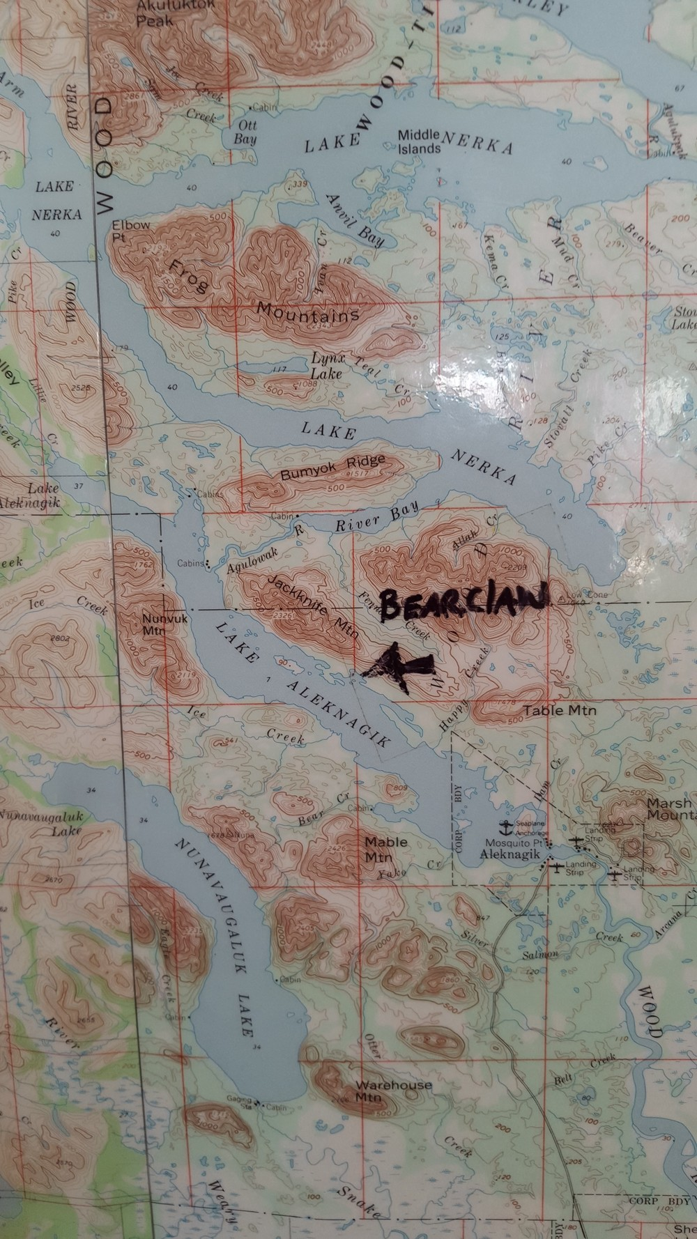 59.355154 - 158.807360 are the coordinates for Bearclaw Lodge