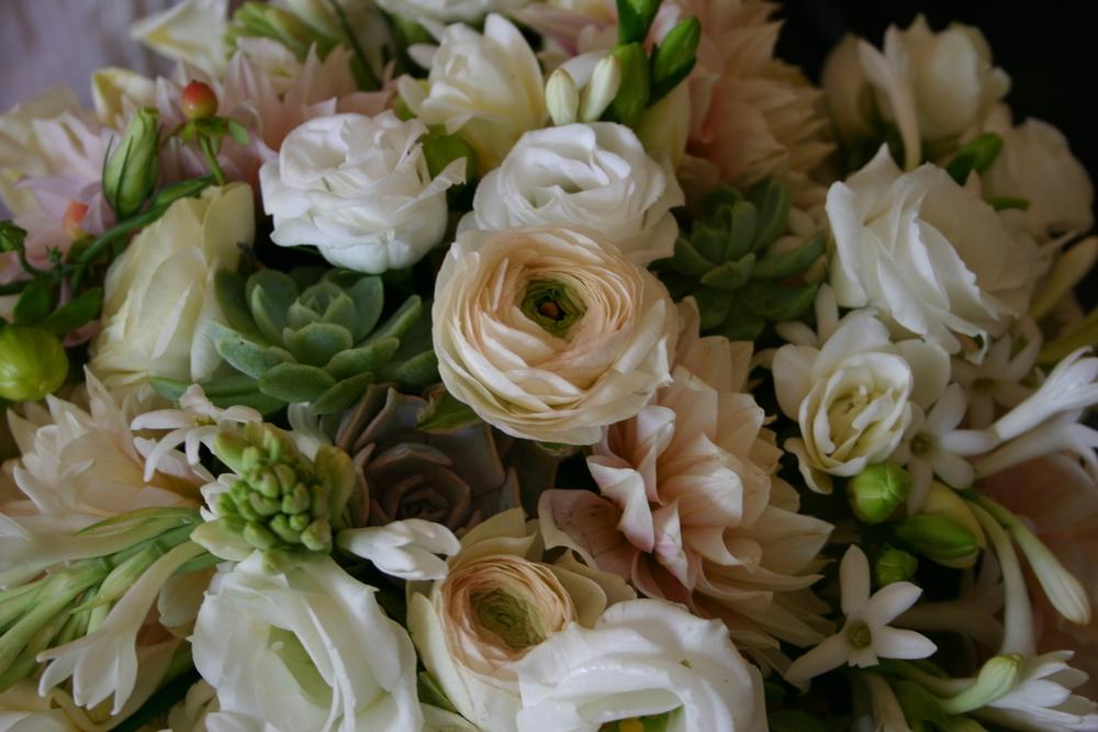Tuberoses, Ranunculus, Lisianthus, and Succulents