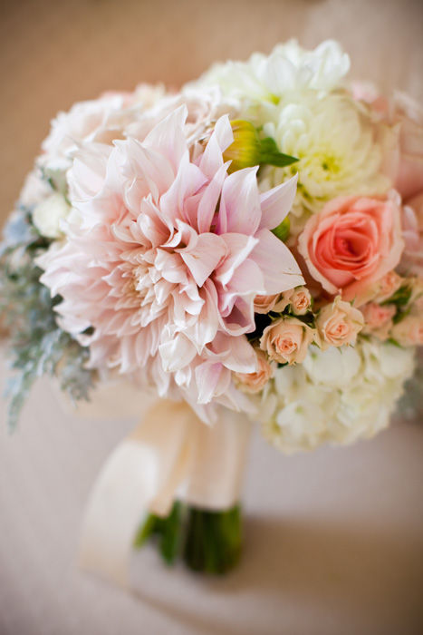 Bouquet of Roses, Cafe Au Lait Dahlias, White Dahlias, Dusty Miller and Hydrangea