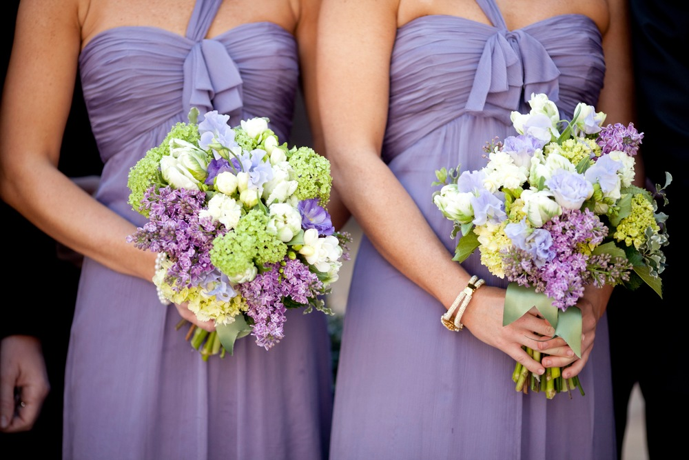 Bouquets of Viburnum, Lilac, Parrot Tulips, Freesia, Lisianthus and Sweet Peas
