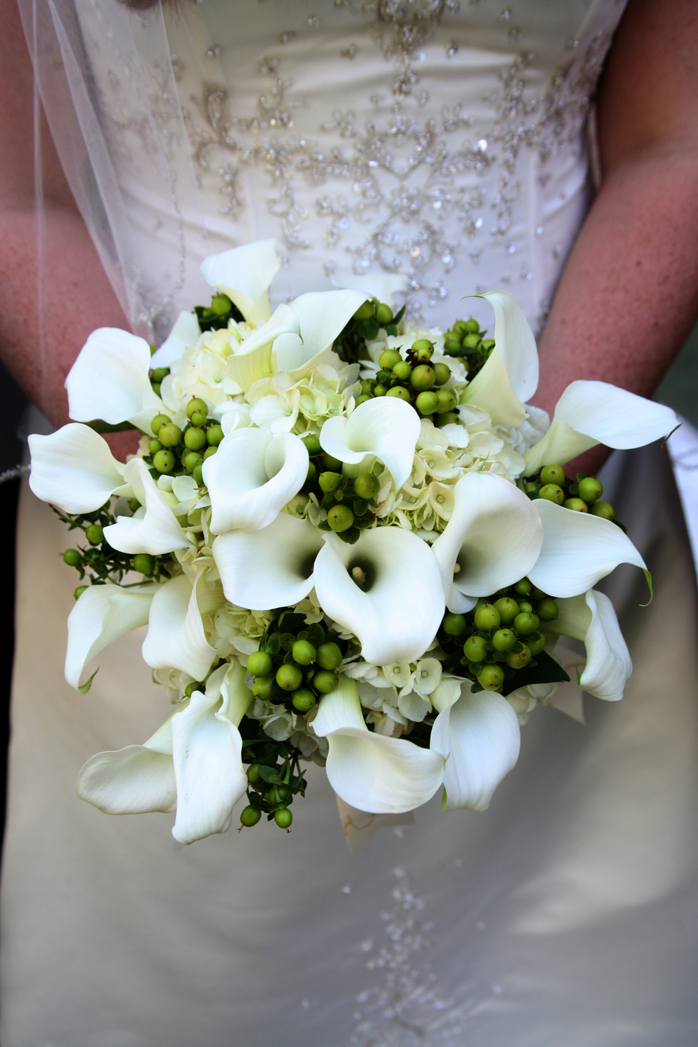 Bouquet of White Mini Callas, Green Hypericum and Hydrangea.