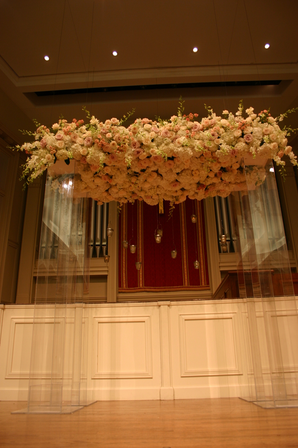 Clear wedding arbor of Roses, Hydrangea, and Dendrobium Orchids at Second Presbyterian Church