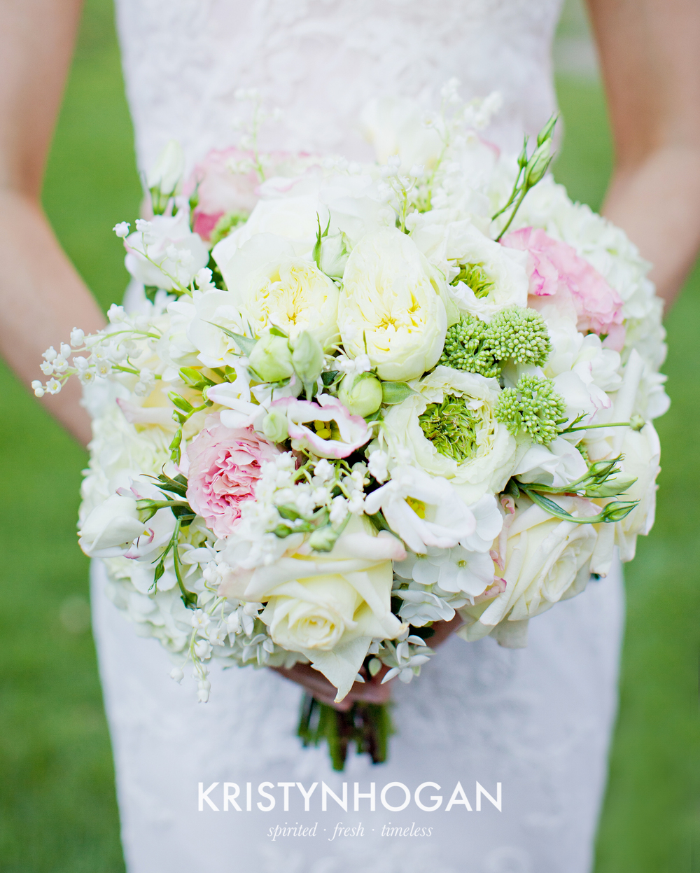 Bouquet of Garden Roses, Lisianthus, Sedum, Hydrangea, Phlox and Lily of the Valley