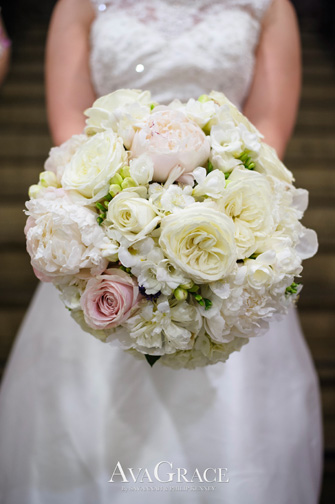 Bouquet of Peonies, Hydrangea, Freesia, and Roses.