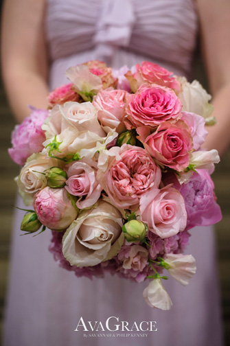 Bouquet of Garden Roses, Peonies, Sweet Peas, and Hydrangea.