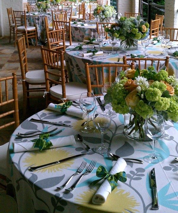 Graduation Luncheon, Linens from LaTavola, Viburnum, Hydrangea, Garden Roses, and Ornithogalum