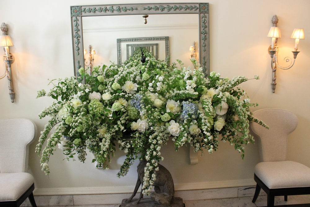 Entry console at The Memphis Hunt and Polo Club - Viburnum, Mock Orange, Peonies, Hydrangea, Spirea
