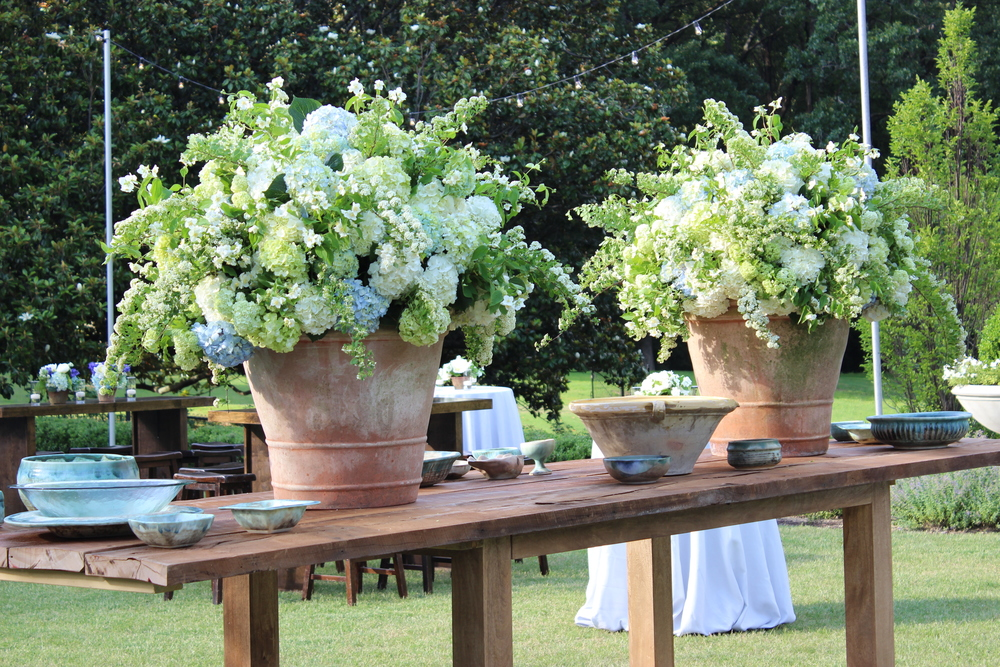 Seafood station on the event lawn at The Memphis Hunt and Polo Club - Hydrangeas, Viburnum, Mock Orange, Spirea