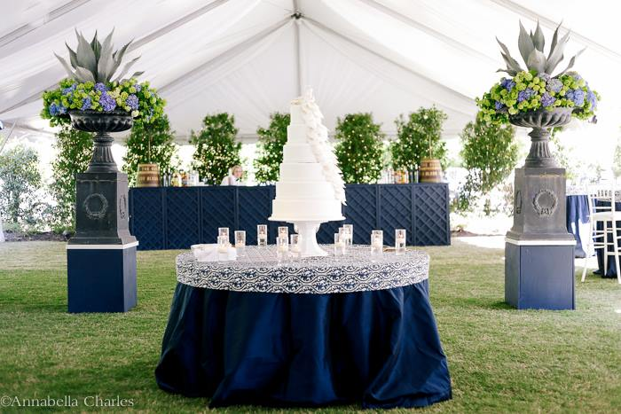 The Royal Wedding at The Memphis Hunt and Polo Club - Cake by The Flour Garden, Custom Bar, Custom Table Topper,  Agave, Hydrangea, and Viburnum.  Photo Courtesy of Annabella Charles Photography