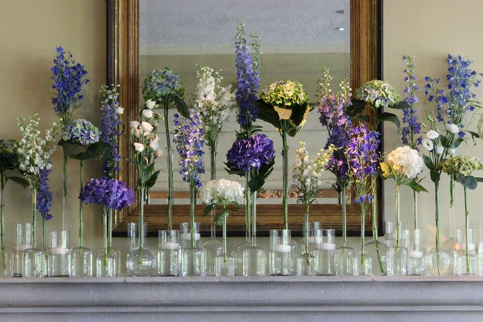 Mantle at Memphis Country Club - Delphinium, Lisianthus, and Hydrangea