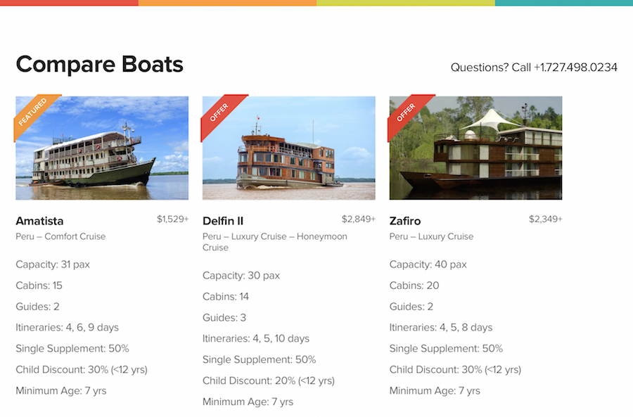Compare Boats Feature