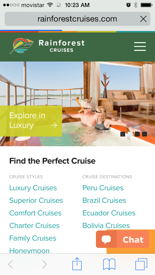 Rainforest Cruises Mobile Friendly