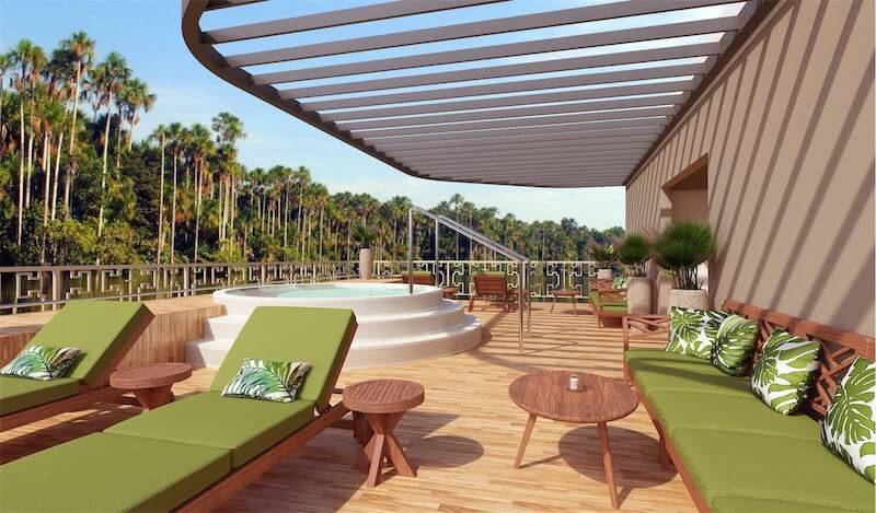Amazon Discovery's Sun Deck with a Jacuzzi