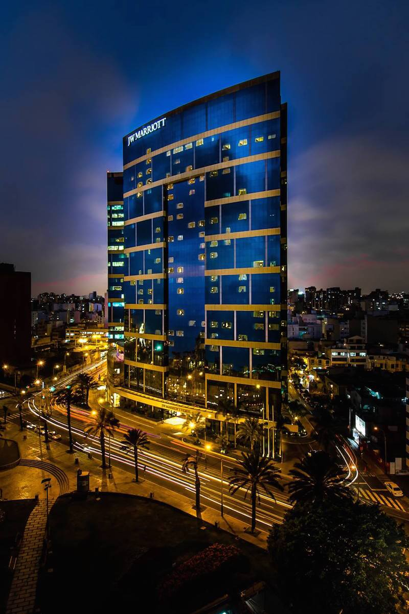 The Marriott Hotel in Miraflores at Night
