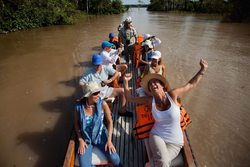 Skiff excursion in the Amazon