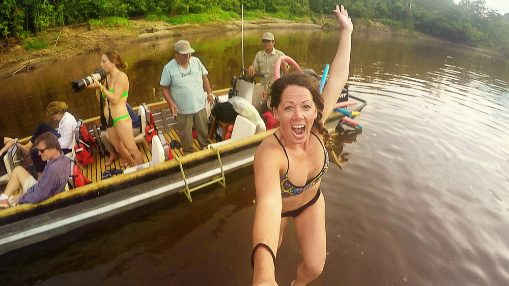jumping into amazon river