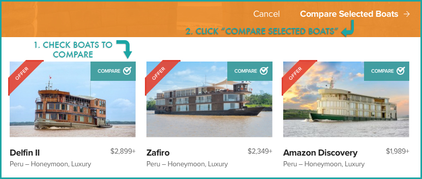 "1. Check Boats to Compare. 2. Click ""Compare Selected Boats."""