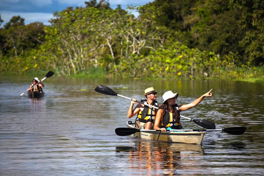Kayaking in the Amazon jungle (Delfin Amazon Cruise excursion).