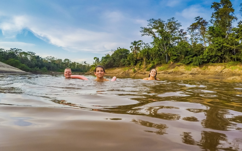 Swimming in the Amazon River, Peru