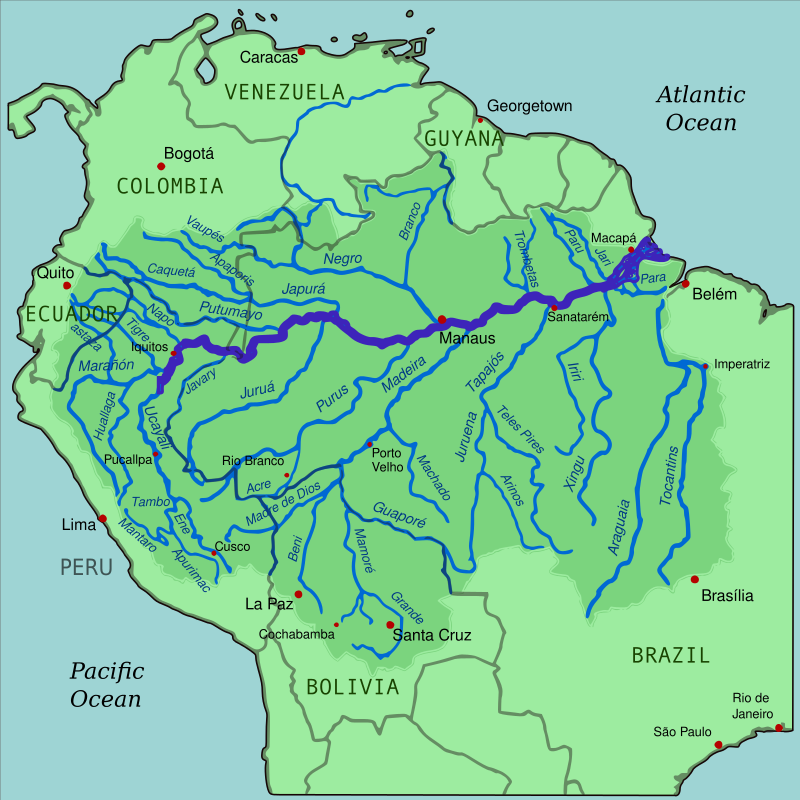 Amazon river facts rainforest cruises map highlighting the amazon river and its tributaries ph wikipedia gumiabroncs Choice Image
