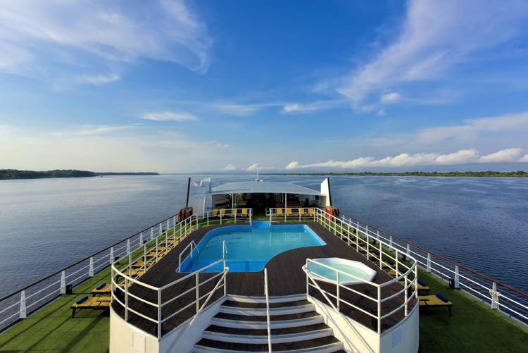 Top deck of the Iberostar Amazon cruise.