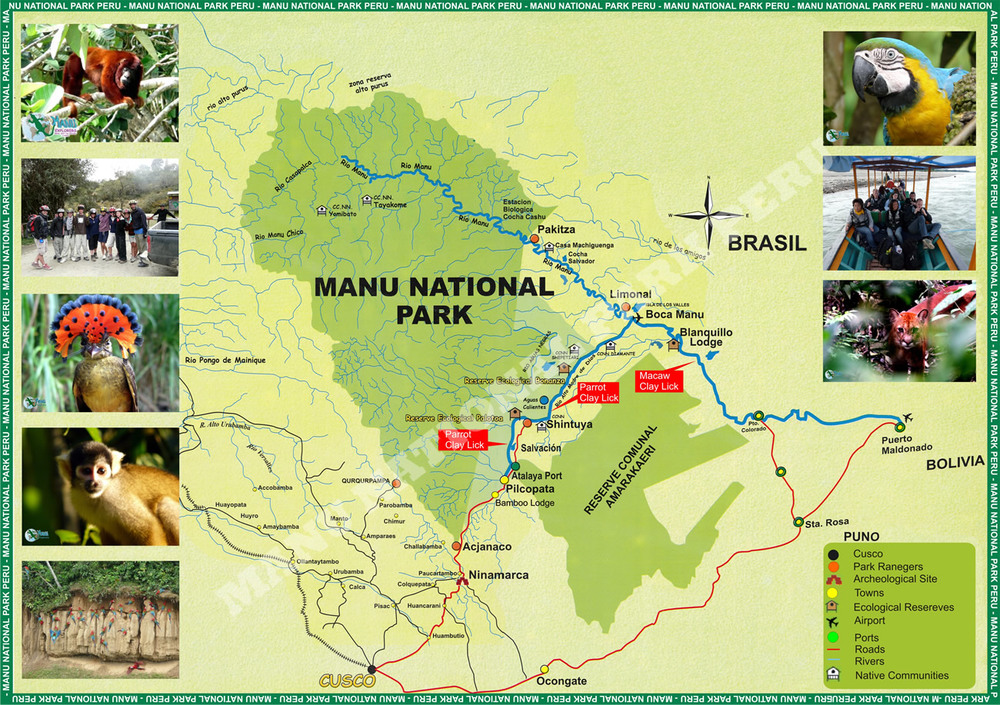 Map of Manu National Park in Peru (Ph. mappery.com)