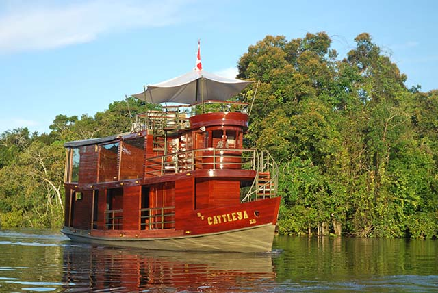 The beautiful Cattleya riverboat cruising the Peruvian Amazon.
