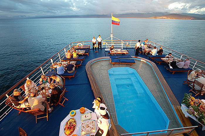 The stunning pool on board the luxurious Galapagos Legend on offer.