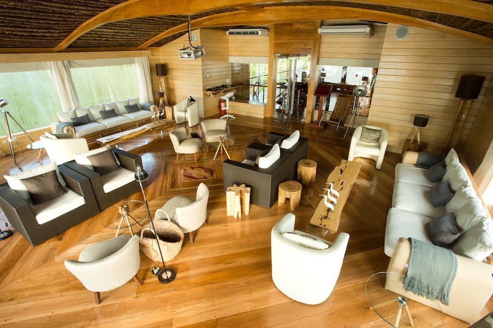 The cozy lecture room aboard the luxurious Delfin II