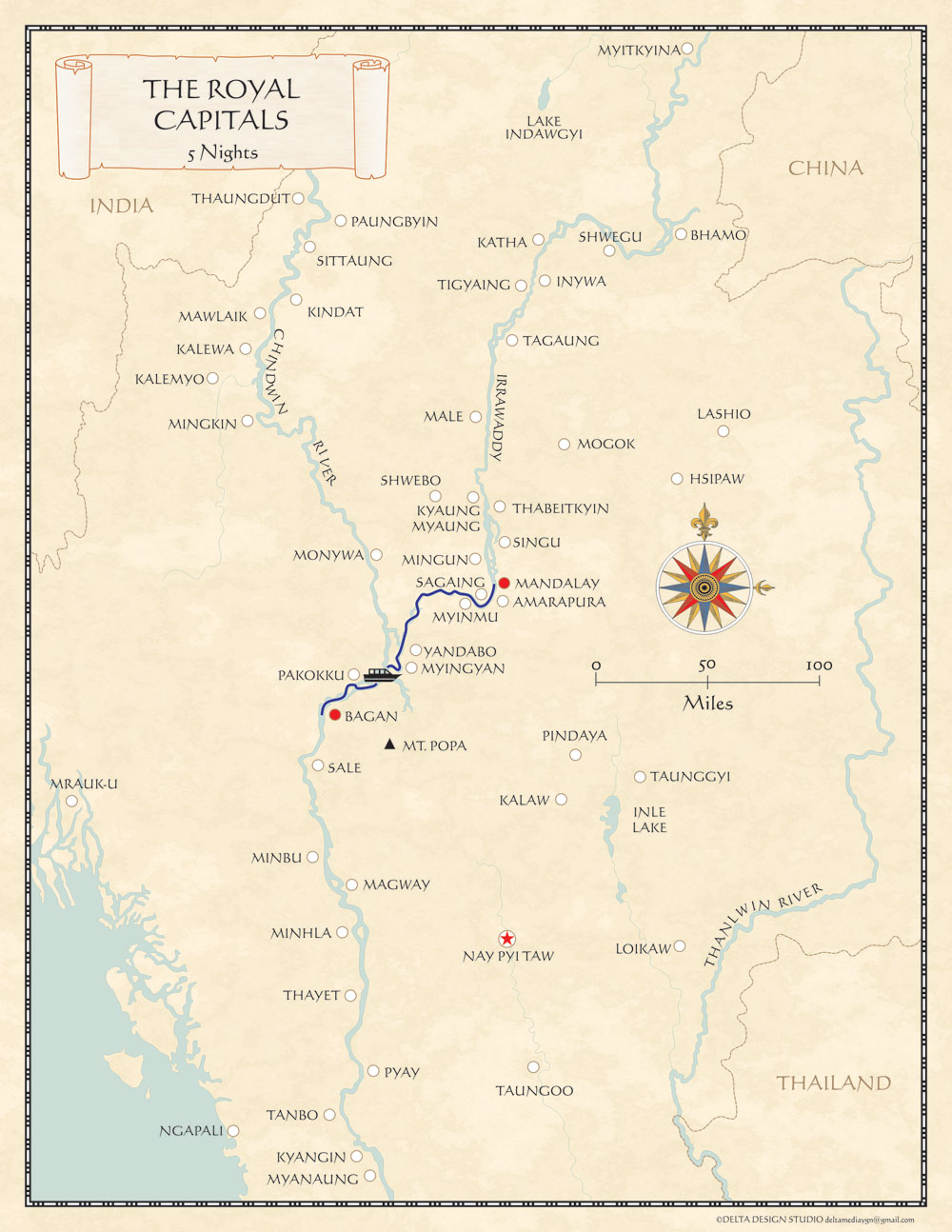 Myanmar RIver Cruise Map