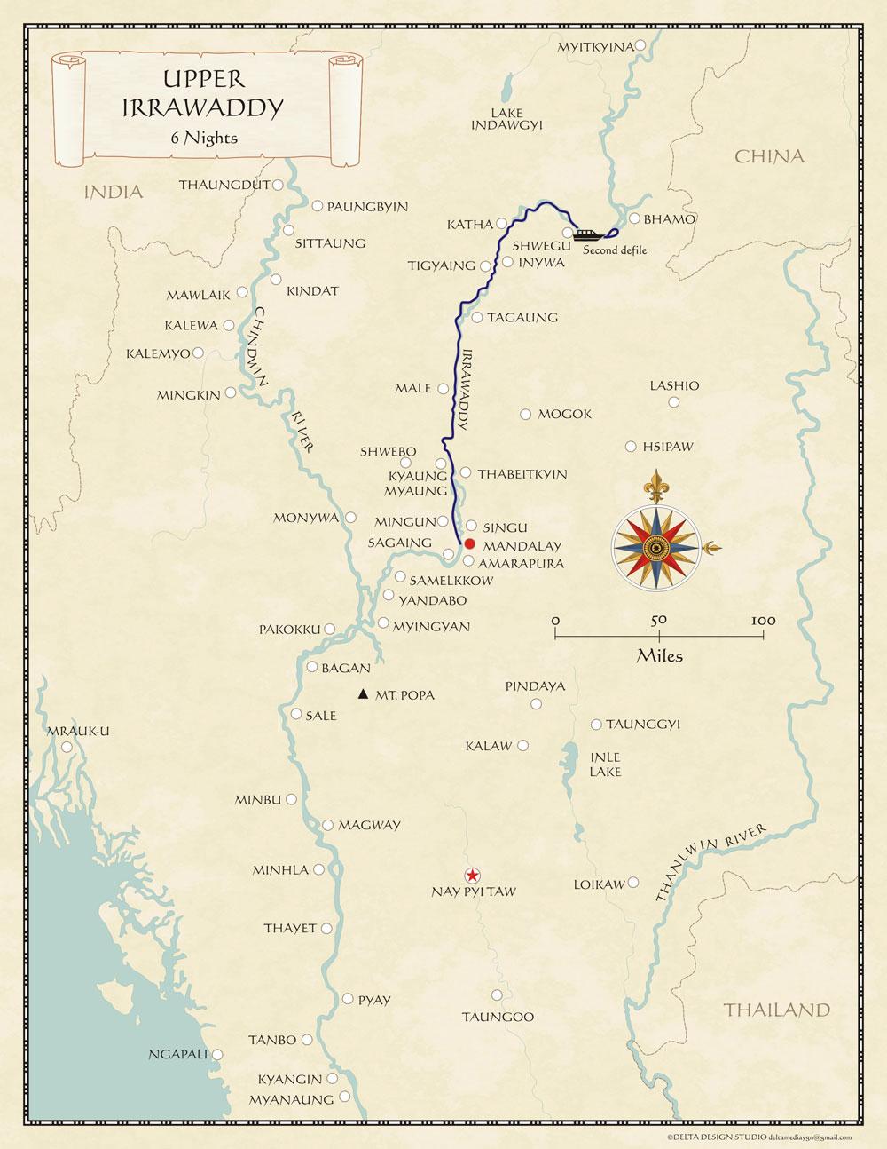 Upper Irrawaddy Myanmar Cruise Map