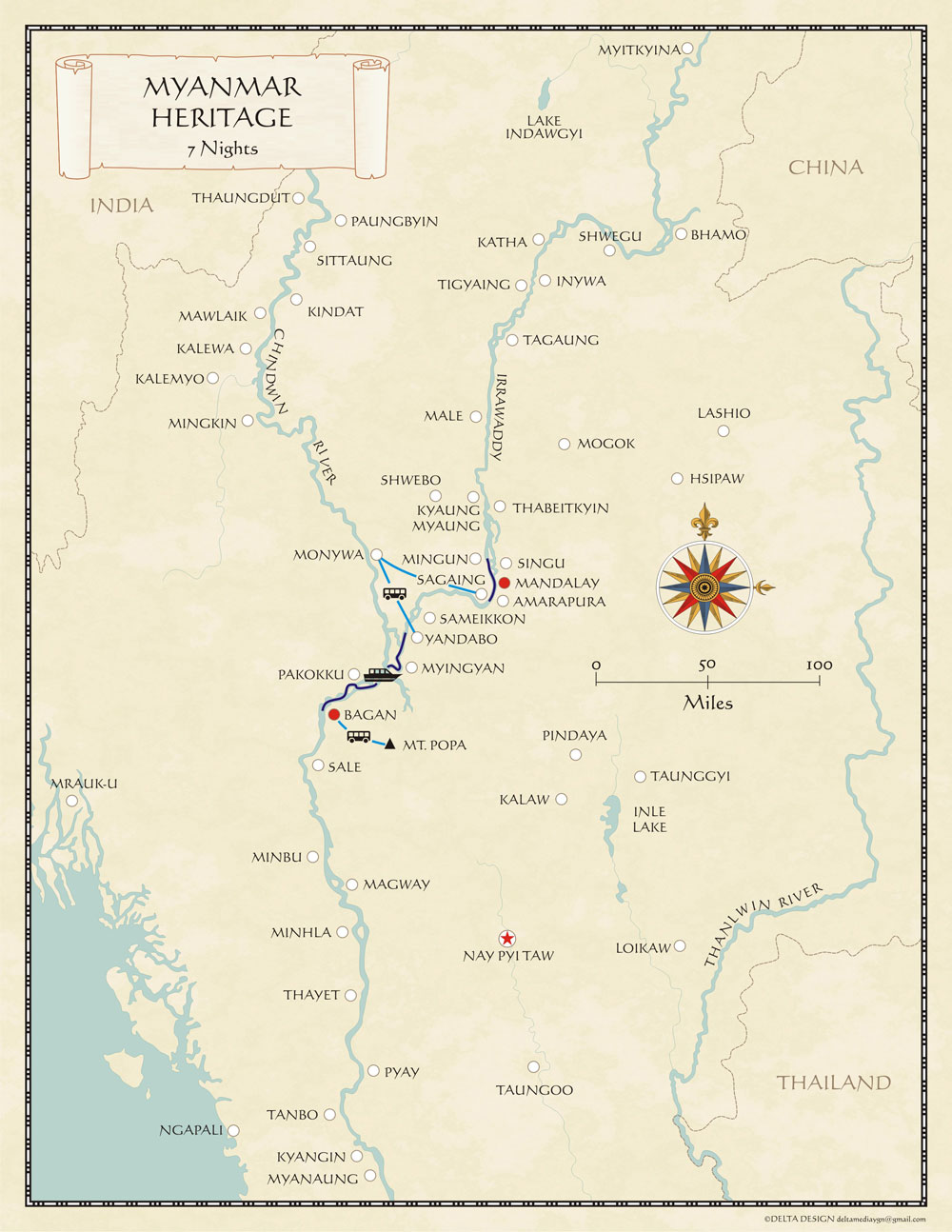 Myanmar Irrawaddy Cruise Map