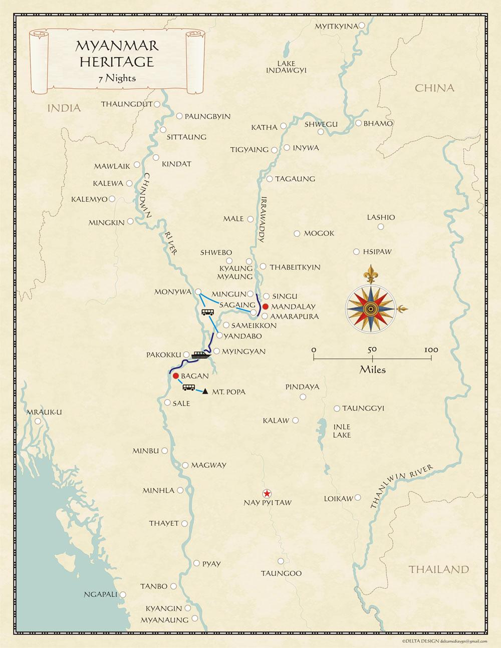 Myanmar Irrawaddy River Cruise Map