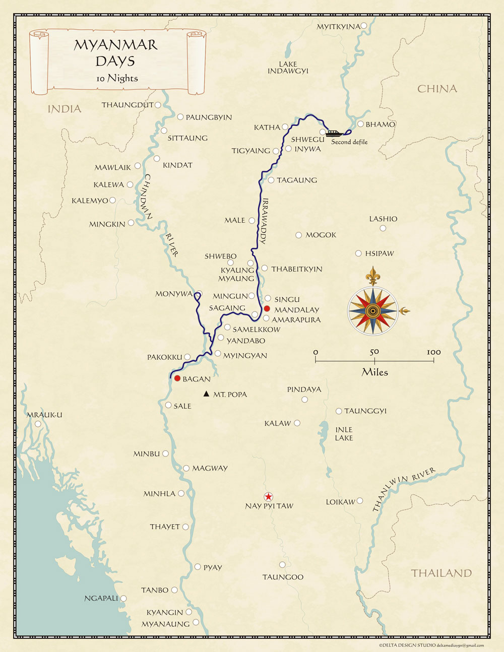 Myanmar Irrawaddy River Cruise map