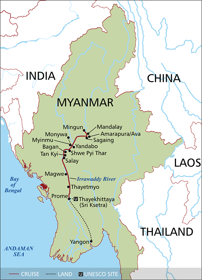 Myanmar Flight Map