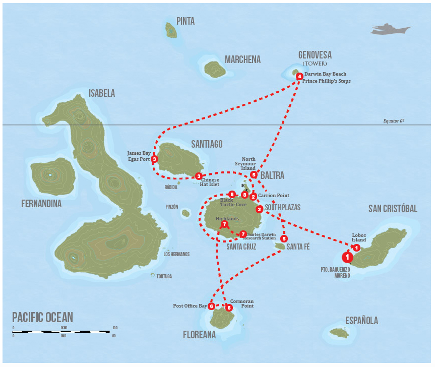 Evolution Galapagos Cruise East Itinerary