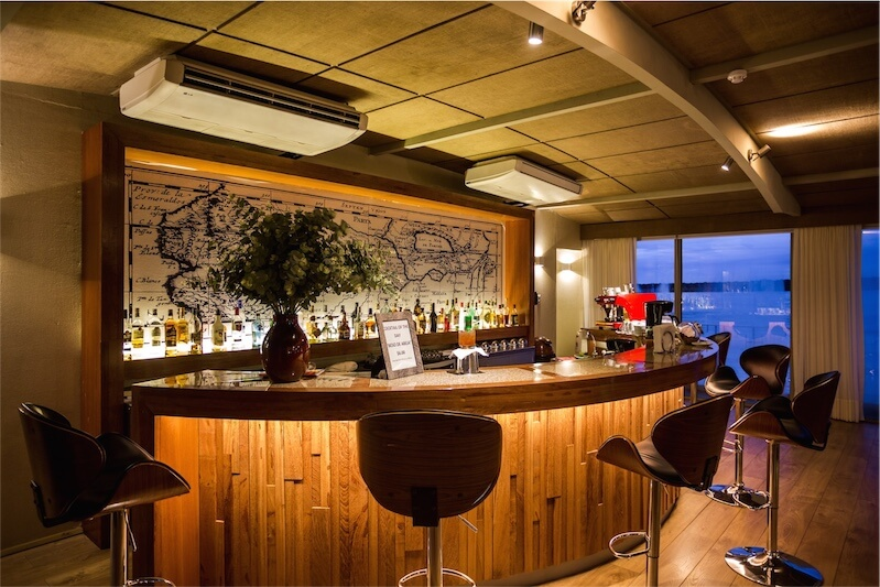 The stylish bar aboard the new Delfin III riverboat in the Peruvian Amazon.