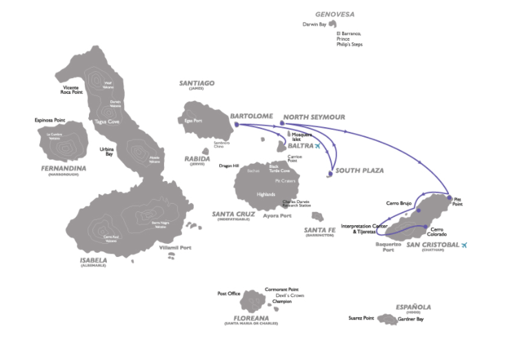 Galapagos Legend 4-day Cruise Itinerary C Map