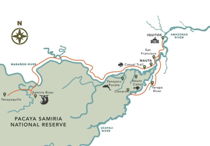 Delfin III 7-Day Amazon Cruise Itinerary Map